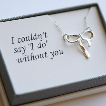 Thank you card with necklace,Sterling Silver Bow necklace,Ribbon,Knot,Tie the knot,Wedding Jewelry,Bridal,Bridesmaid gifts,WEddings