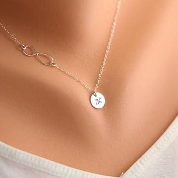 Infinity necklace with initial charm,Sideways,Initial necklace,Friendship,Personalized initial,Everyday