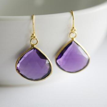Real Purple amethyst Earrings,Large stone Earrings,Purple Wedding,Purple amethyst in bezel,Gold,bridesmaid gifts,Purple Wedding