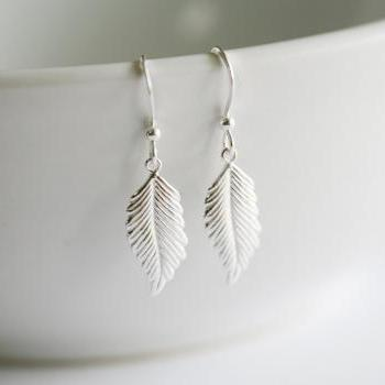 Sterling silver feather Earrings,Fall Autumn Wedding Jewelry,Everyday Daily Jewelry,Dangle Earrings,Longer leaf,Bridesmaid Gifts,Weddings
