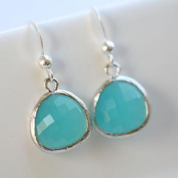 Aqua Blue Sterling Silver Earrings,Stone in bezel,Simple everday daily Jewelry,Bridesmaid gifts,Birthday,Best friends,Anniversary