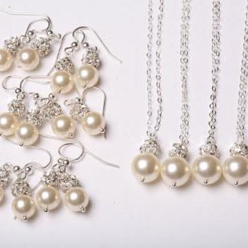 Set of 6,Bridesmaid Jewelry set,Crystal Rhinestone and pearl Sterling Silver Necklace and earrings,Wedding Jewelry