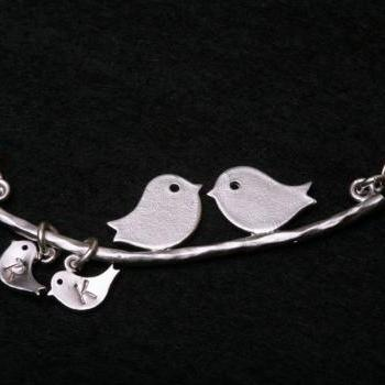 Initial Bracelet,Bird on the branch,bird initial,two birds,Mother jewelry,Baby bird bracelet,Two initial letters,Mom and baby