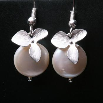 FreshWater Coin Pearl and Orchid Flower STERLING Silver Earrings, brithday gift,flower girl,Bridesmaid gifts,Wedding jewelry