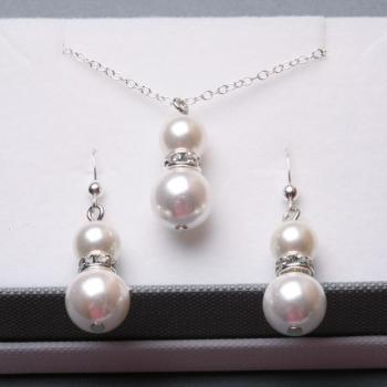 Bridesmaid jewelry set, Shell Pearl,wire wrapped pearl and rhinestone crystal STERLING silver set, Wedding Jewelry,bridesmaid gifts