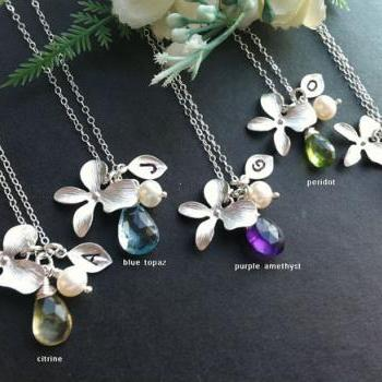 Set of 6,Orchid flower Necklace,leaf initial,customize initial and birthstone,bridesmaid gift,wedding jewelry,birthday