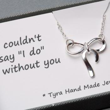 Sterling silver knot necklace, silver knot necklace, tie the knot, bridal party jewelry gifts,sisterhood,graduation gift