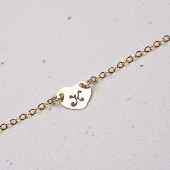 Gold Heart initial 14k gold Necklace,Small initial charm,Simple Daily Jewelry,Bridesmaid Gifts,Wedding Jewelry,Heart connector