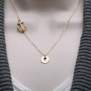 ON SALE-Gold Anchor Necklace,sideways Anchor,Personalized initial,Sailors Anchor,Wedding Jewelry,Bridesmaid gifts,daily Jewelry,strength