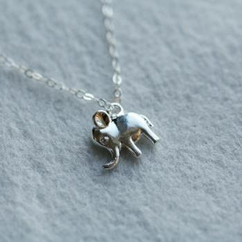 Tiny Lucky Elephant Sterling Silver Necklace,Birthday Gift,Best Friends,Wedding,Everyday Jewelry,Dainty,Anniversary,Sisterhood