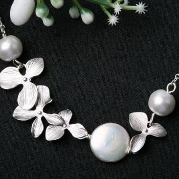 White Coin Pearl and Orchid flowers in Sterling Silver necklace,bridesmaid gift,bridal jewelry,wedding jewelry,birthday gift