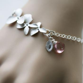 Orchid Flower Bracelet,Custom birthstone and initial,Leaf initial Bracelet,Wedding Jewelry,Bridesmaid gifts,birthday gift