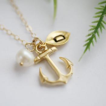 ON SALE-Gold Anchor Necklace,Anchor with leaf initial,Pearl,Sailors Anchor,Wedding Jewelry,Bridesmaid gifts,daily Jewelry,strength,