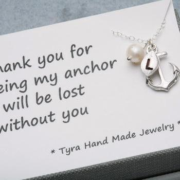 Anchor Necklace with card,leaf initial,Pearl,Sailors Anchor,Wedding Jewelry,Bridesmaid gifts,daily Jewelry,strength,