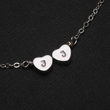 Reversible Heart initial Bracelet,Silver bracelet,Monogram adjustable,Bridesmaid gifts,Birthday,Friendship,Mother Jewelry