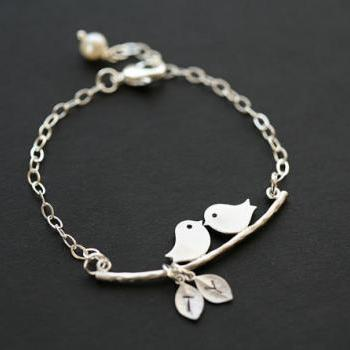 Initial Bracelet,Bird on the branch,Leaf initial,Bridesmaid gifts,Wedding Jewelry,Friendship,Mother Jewelry,Mom and baby