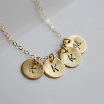 Textured disc,Personalized initial,Monogram necklace,Four initials,Tiny Initial Letter charm,Family,Bridesmaids Jewelry