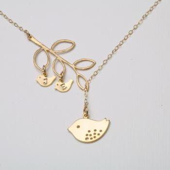 Gold Bird initial,Bird Necklace,Mom and baby,Mother Jewelry,Initial necklace,Mother's day,Family Bird,Lariat Sterling Silver Necklace