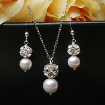 Bridesmaid Jewelry set,Crystal Rhinestone and pearl Sterling Silver Necklace and earrings,Wedding Jewelry