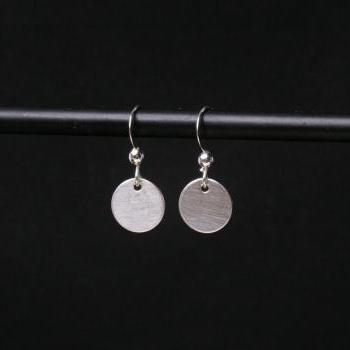 Sterling Silver Disc Earrings, Drop Earrings, Sterling Silver Discs,Tiny Disc Earrings,Silver Dot Earrings,Minimalist Earrings