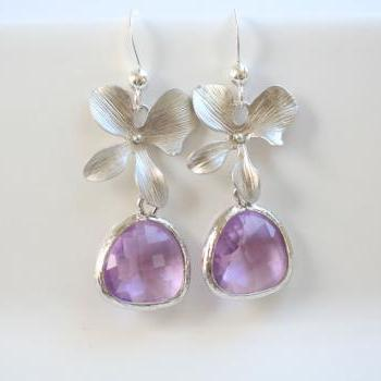 Pink Amethyst Earrings,Stone in bezel,Orchid flower Earrings,Flower Jewelry,Bridesmaid gifts,Wedding Jewelry,Bridesmaid Earrings