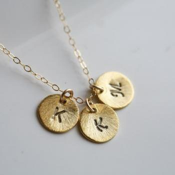 Textured disc,Personalized initial,Monogram necklace,Three initials,Tiny Initial Letter charm, Everyday daily Jewelry,Bridesmaids Jewelry
