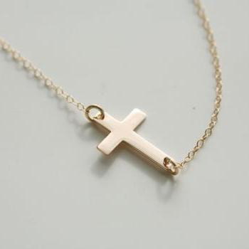 Gold Filled Tiny Cross Necklace,Blessed Necklace,Simply daily Jewelry,Sideways Cross,Gold Filled Necklace