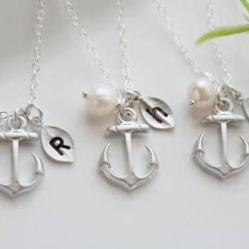 Set of 6,Anchor Necklace,Anchor with leaf initial,Pearl,Sailors Anchor,Wedding Jewelry,Bridesmaid gifts,daily Jewelry,strength,