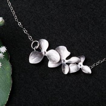 Silver Orchid Flower,Triple Orchid flower on Sterling Silver Necklace,Flower girl gift,Birthday,Bridesmaid gifts,Wedding jewelry