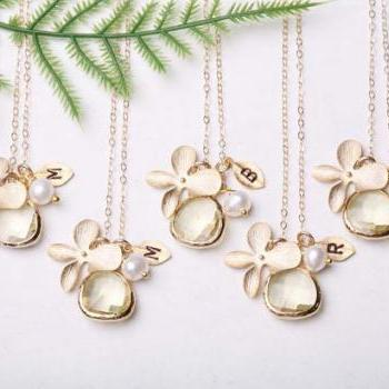 Set of 4,Bridesmaid Gifts,Gold Orchid Flower Gold Fill Necklace,Stone in Bezel,Custom initial & Birthstone,Leaf initial,Flower Girl Gift