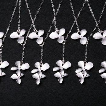Bridesmaid Gifts,Set of six,Wedding jewelry,Orchid flower lariat necklace,flower jewelry,Flower girl,Sterling silver,Adjustable