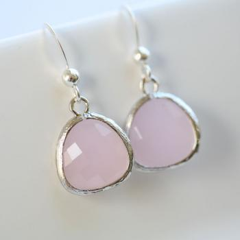 Soft Pink,Rose pink stone Sterling Silver Earrings,Stone in bezel,everday daily Jewelry,Bridesmaid gifts,Wedding Jewelry,Bridesmaid earring