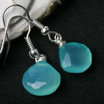 Aqua Blue chalcedony on Sterling Silver Hooks,Wire wrapped,Gold option,Birthday gift,Daily Jewelry