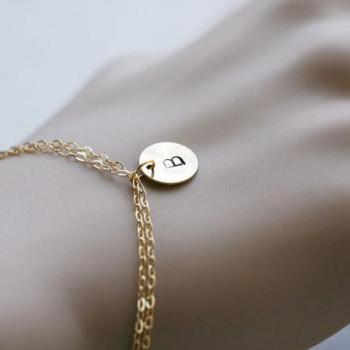 Gold Fill bracelet,initial bracelet,initial letter charm,bridesmaid gifts,Simple everyday jewelry,personalized gift