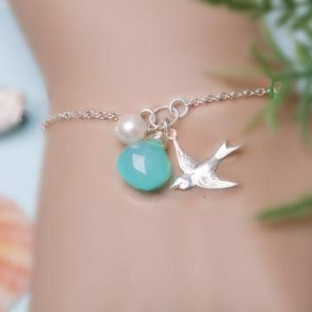 Bird Monogram Bracelet,Personalized Bird Bracelet, Bridesmaid's gifts,Mother's Jewelry, Wedding jewelry, Bridesmaid gifts