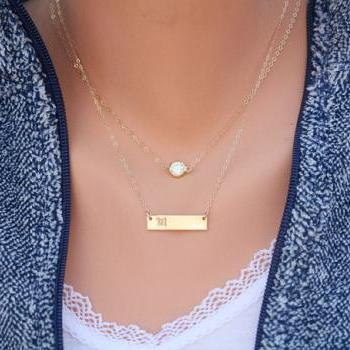 Personalized double layering Tiny dot Bar necklace,Bar Monogram Necklace,tiny dot bar necklace, Initial Rectangle necklace