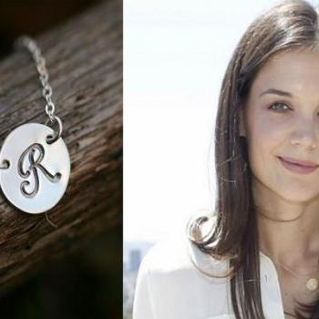 Initial Pendant, Large Disc Necklace, Personalized Jewelry, Monogram Initial Charm, Celebrity Inspired Jewelry,Bridesmaid gifts