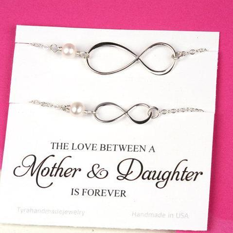 Set of two,Mother daughter infinity charm bracelets,gift for mother of groom,Mother in law gift, Infinity bracelet, sisters,mother's day gift