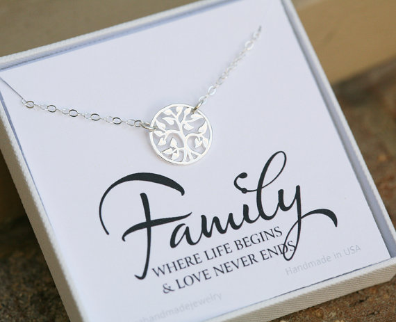 Wedding Gift For Mother In Law: Family Tree Necklace,Mother's Day Gift,Gift For Mother